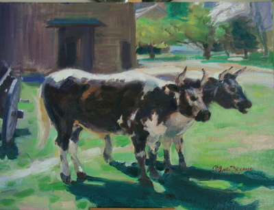 Angresano Studio -  At the Restoration Center two cows, 16x20 Oil