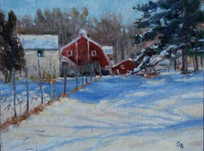 Angresano Studio - Mrs Brooks Farm in Winter 9 x 12 Oil