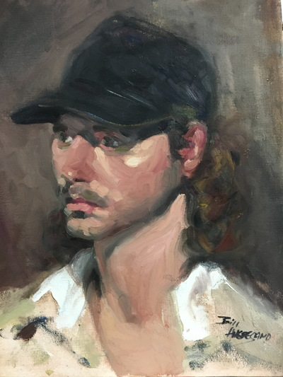 Angresano Studio - The Black Hat  16x 20 Oil