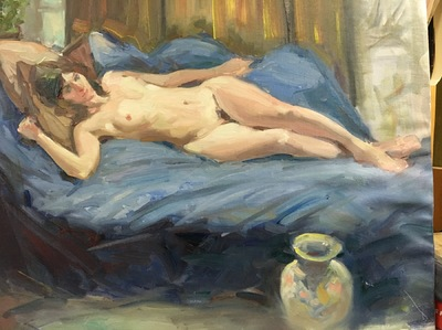 Angresano Studio - Reclining Nude 16x 20 Oil
