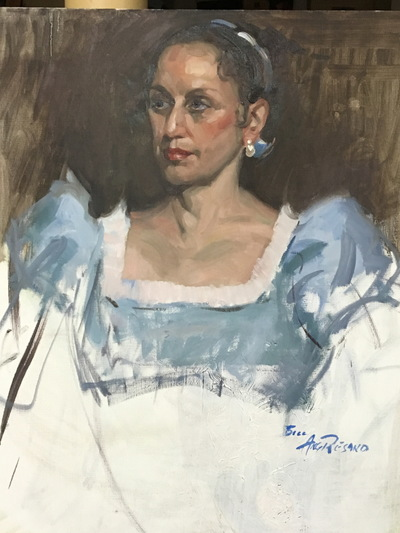 Angresano Studio - The Woman in Blue 20 x 18 Oil