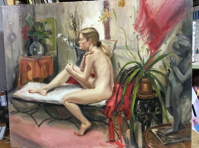 Angresano Studio -  The Figure on a Couch 16x20  Oil