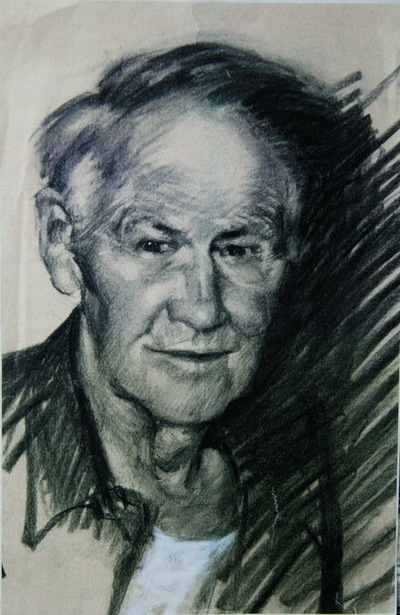 Angresano Studio - Portrait of Tom Lovell , Charcoal on Canson paper