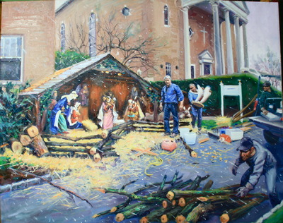 Angresano Studio - The Creche Builders 28 x 30 Oil