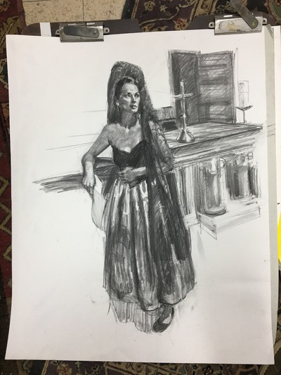 Angresano Studio - The Senorita, at the Altar 18x24 Charcoal on bainbridge paper