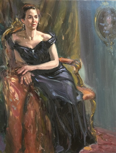 Angresano Studio - Seated Woman , front view Black Gown