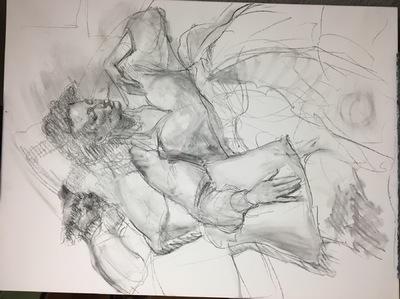 Angresano Studio - Charcoal on canvas