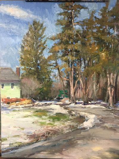 Angresano Studio - Winter Road Frick family property 16x20 Oil