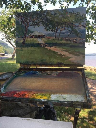 Angresano Studio - Snack Shack Hudson River Alpine, 12 x14 Oil