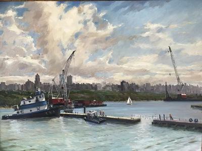 Angresano Studio - Hudson River Action 30 x 40  Oil