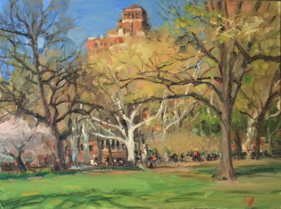Angresano Studio -  Looking out in Washington Square Park 12x 14 Oil