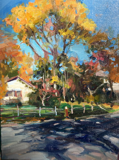 Angresano Studio -  Fall afternoon, Closter 16x 12  Oil
