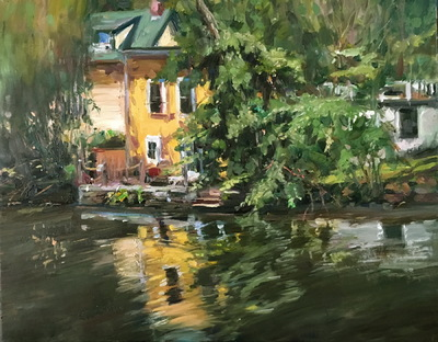 Angresano Studio -  Reflection of the Yellow House 16 x 20 Oil