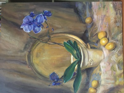 Angresano Studio - Still Life with Orchids , 40x 30 Oil