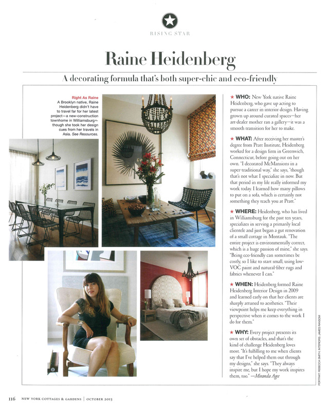 Raine Heidenberg Interior Design New York Brooklyn Montauk - http://www.cottages-gardens.com/New-York-Cottages-Gardens/October-2013/Raine-Heidenberg-has-her-own-decorating-formula/
