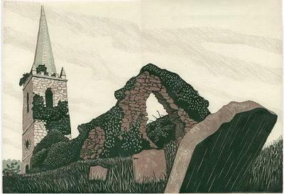 Printmaking, Poems & Projects - On Church Island - Color Linoleum print