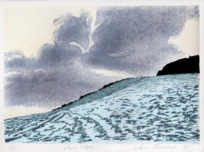 Printmaking, Poems & Projects - Cavehill in Snow - Color silkscreen print