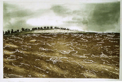 Printmaking, Poems & Projects - Potato Stalks - Hand colored etching with aquatint
