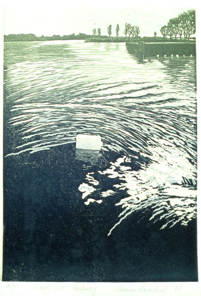 Printmaking, Poems & Projects - Newferry - Color Linoleum print