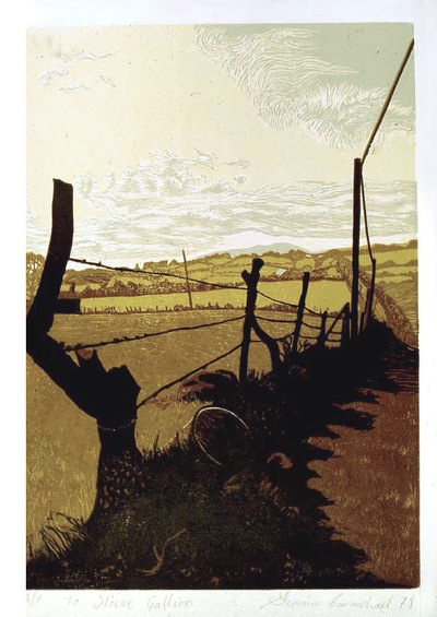 Printmaking, Poems & Projects - To Slieve Gallion - Color Linoleum print