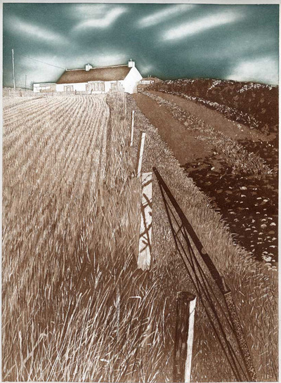 Printmaking, Poems & Projects - Hill Farm - Hand colored etching with aquatint