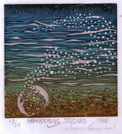Printmaking, Poems & Projects - Abandoning Studies - Click for Color Linoprints & Poems