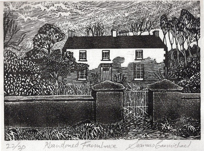 Printmaking, Poems & Projects - Abandoned Farmhouse - Click for Black & White Linoprints