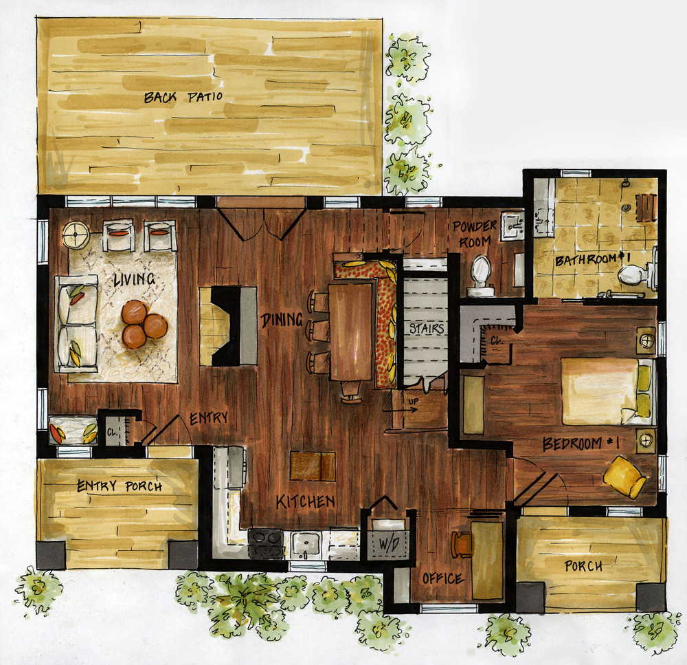 Kitchen Design Drawing With Color: Michaela Murphy Interior Design