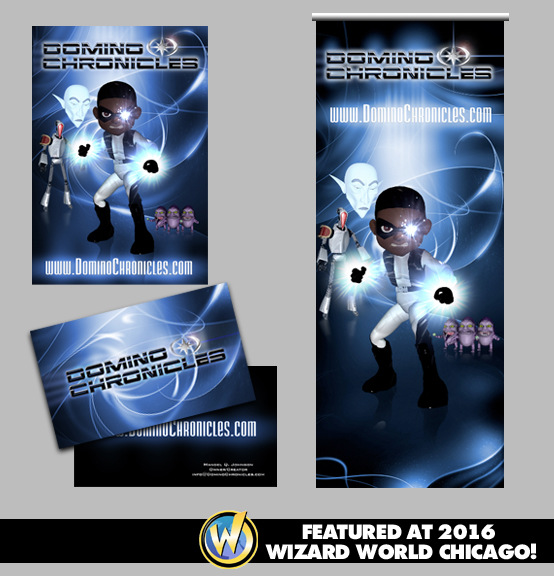Brad Hofbauer - Graphic Design & Photography - Domino Chronicles - Comic promotion (business cards, postcards and banner for show)