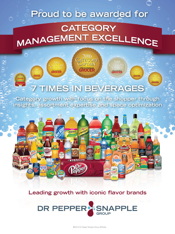 Brad Hofbauer - Graphic Design & Photography - Dr. Pepper / Snapple Group advertisement for Progressive Grocer magazine