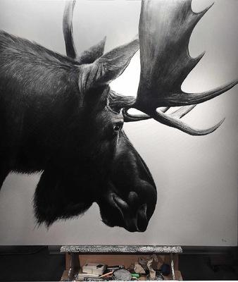 robert thibault - Élan dAmérique 120 cm x 120 cm
