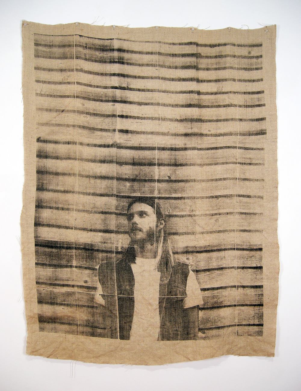 Brian Garbrecht - For Sale By Owner Screen Print Mosaic on Burlap. Printed w/ 9 Screens, Composed of 36 Separate Images. 2015
