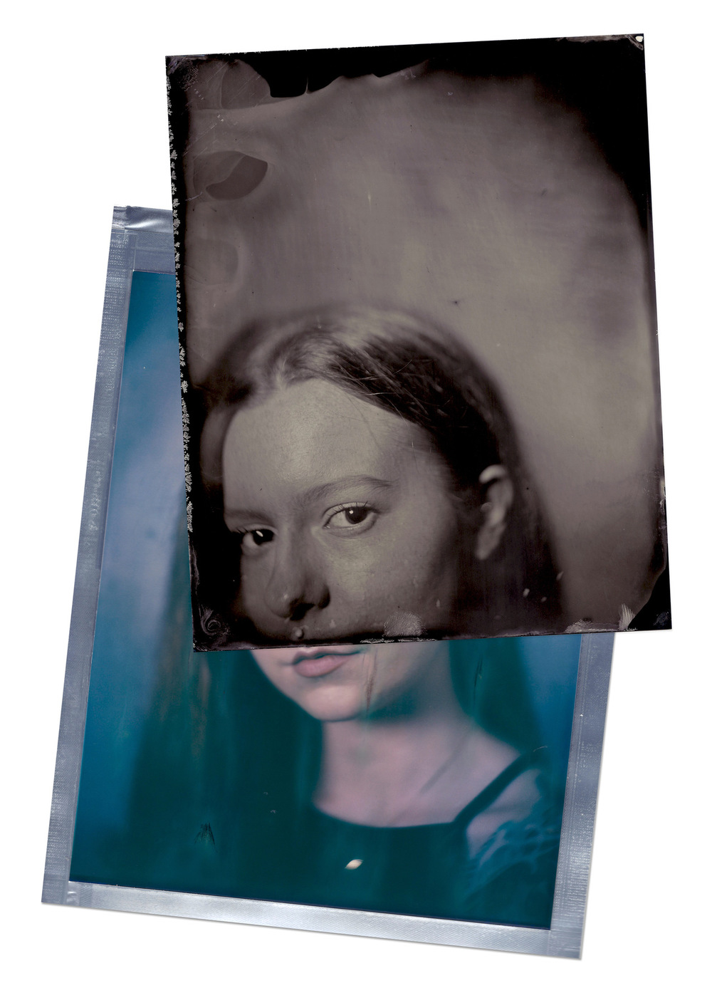 Brian Garbrecht - Aubrey 8x10 wet plate collodion on aluminum, on top of an 8x10 instant photograph. 2017