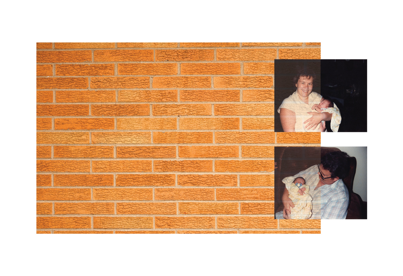 Brian Garbrecht - First (Day) Home 2020. Family Archive atop Digital Photograph.