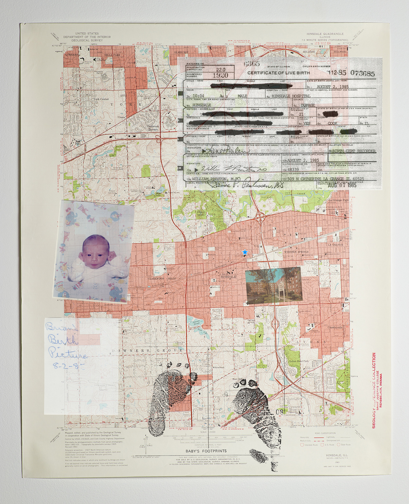 Brian Garbrecht - Hinsdale 2020. Family Archive and Documents Collaged onto Map.