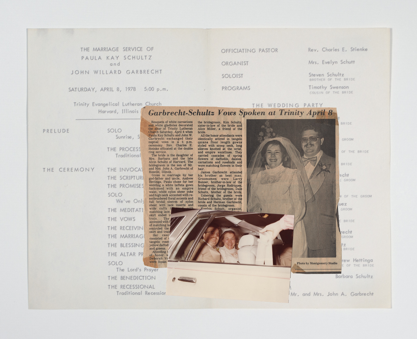 Brian Garbrecht - For Better or Worse 2020. Family Archive on Newspaper Clipping and Wedding Program.