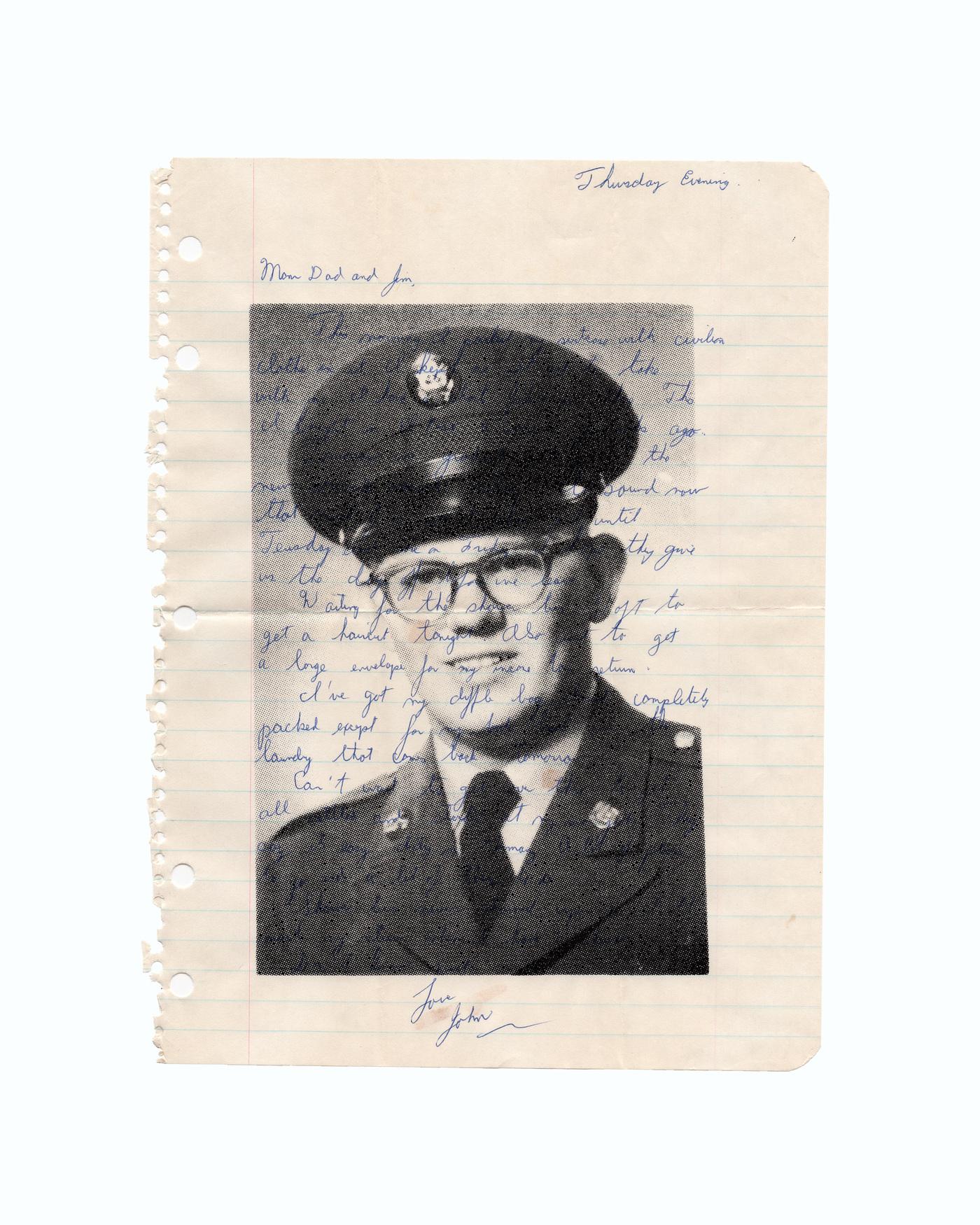Brian Garbrecht - Love, John 2021. Screen Printed Photograph on Handwritten Letter.