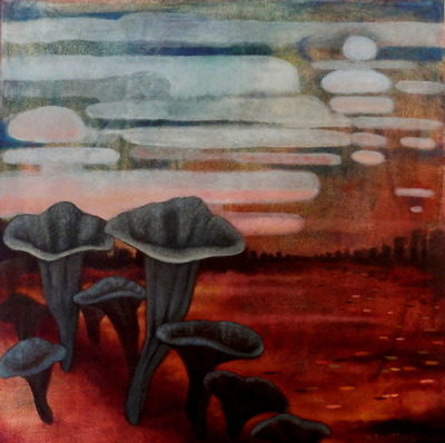 Mary Sundstrom - Black Trumpet Mushrooms & Linticular Clouds 20 x 20 SOLD