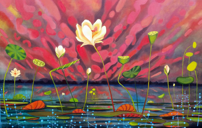 Mary Sundstrom - Queen of the Bayou 30x 48 SOLD collection of the Muskegon Community College