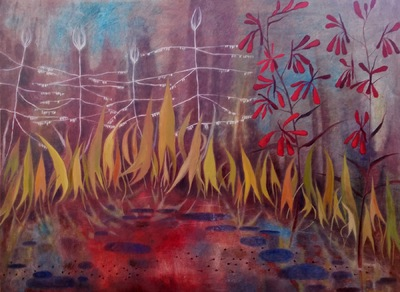 Mary Sundstrom - Arrow Plant and Cardinal Flower 30x 40 Available SOLD