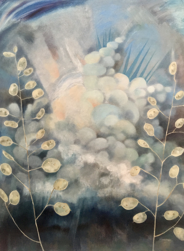 Mary Sundstrom - Money Plant and Storm Cloud 30 x 40 oil on canvas 2020 SOLD