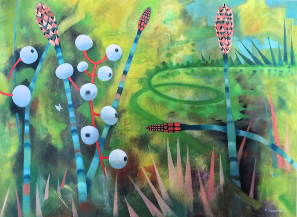 Mary Sundstrom - Dolls Eye Berries and Horsetails 30x 40 oil on canvas 2020 Available $2500 marysundstrom@gmail.com Shipping is additional if required click on the image for my statement