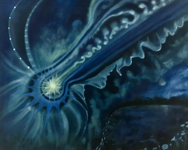 Mary Sundstrom - Neowise Comet (Indigo Series) 24 x 30 Oil pn canvas 2020 SOLD