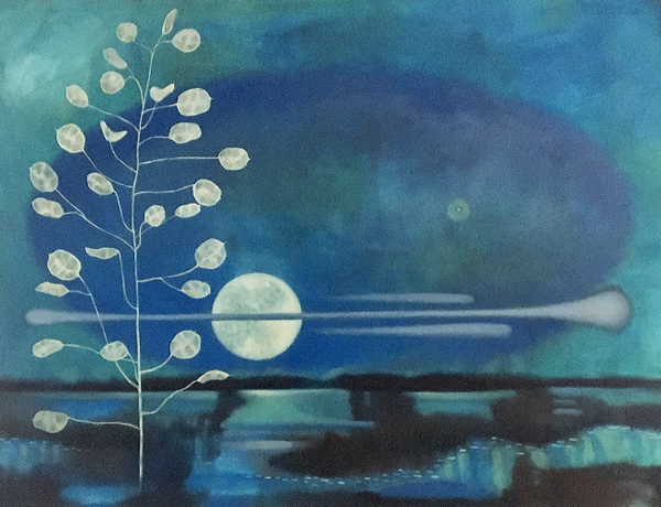Mary Sundstrom - Money Plant and Full Moon (Indigo Series) 30 x 40 SOLD