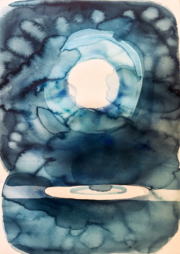 Mary Sundstrom - Watercolor Moon 20 x 28 watercolor on paper unframed $150 unframed plus shipping