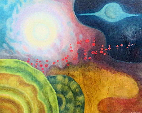 Mary Sundstrom - Planetary Alignment Oil on Birch Cradle 2020 24 x 30 SOLD