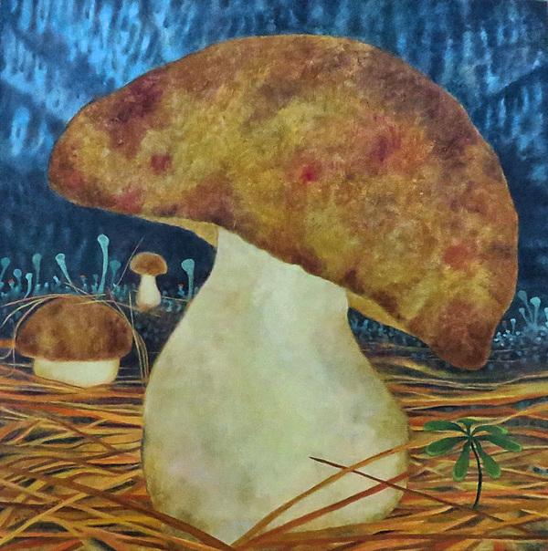 Mary Sundstrom - Bolete Mushroom 24x 25 Oil on Canvas Sold