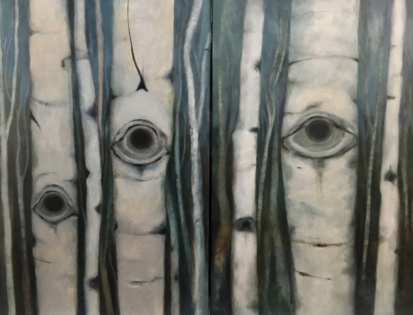 Mary Sundstrom - Birch Eye and Birch Eyes. Two works, can be sold separately or together. 40x 30 each oil on canvas 2021 Available at Higher Art Gallery in Traverse City Michigan https://www.higherartgallery.com click on the image for my statement