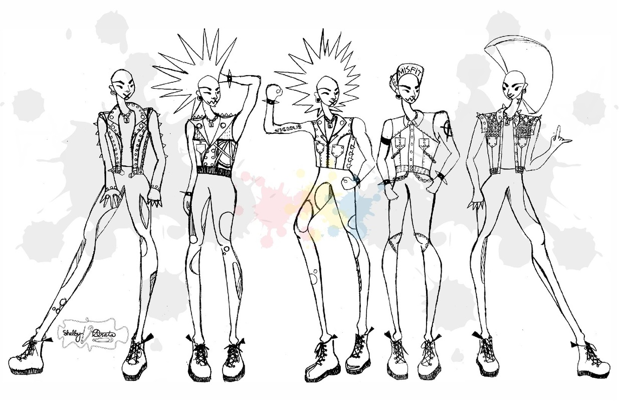 shelby nicole arata fashion design portfolio - Punk Croquis