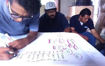 Elisa Lemus - Federico, Arturo y Raúl mapeando los personajes y el archivo vivo.